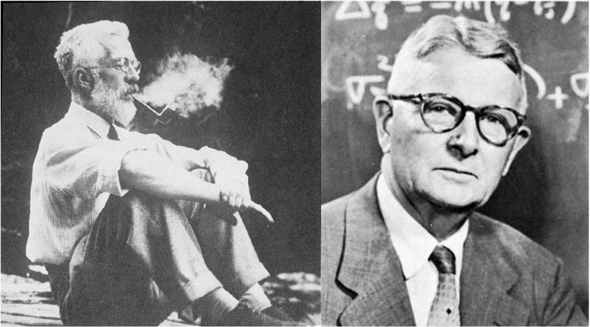 Ronald Fisher (1890-1962) solda, Sewall Wright (1889-1988) sağda...