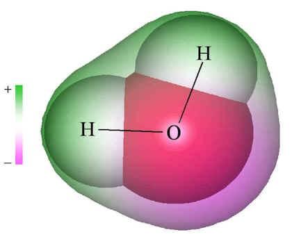 Görüldüğü gibi Oksijen ve Hidrojen atomları doğrusal bir çizgi gibi, yan yana gelerek suyu oluşturmazlar. Daha çok