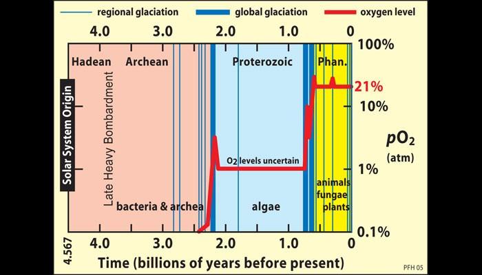Dünya'nın oluşumundan bu yana oksijen düzeylerinin değişimi (kırmızı çizgiyle gösterilmiştir). 2.4 milyar yıl öncesinden daha geride, oksijenin ya hiç olmadığına, ya da varsa bile tespit dahi edilemeyecek kadar az olduğuna dikkat ediniz.