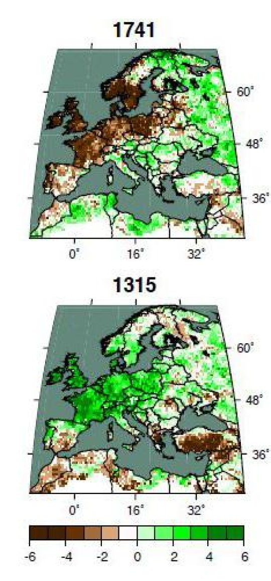 Bu son 2000 yılı kapsayan yeni kuraklık haritaları, bütün kıtanın ve Akdeniz'in büyük bir kısmının yağış periyotlarını göstermektedir. Örnek verecek olursak, 1741 yılını gösteren harita, İrlanda'dan orta Avrupa ve ilerisine kadar uzanan bölgedeki aşırı kuraklığı (kahverengi bölge) göstermektedir. 1315 yılı haritasında ise tam tersi bir sorunu göstermektedir. Bu yılda, çok fazla yağış olduğundan dolayı (koyu yeşil bölge), tarım neredeyse imkansız bir hal almıştı.  Kaynak: Cook et al., Science Advances, 2015