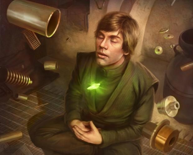 Luke, gücü kullanarak yeni bir ışın kılıcı yapıyor.