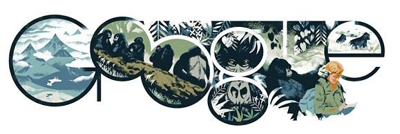 Doodle'da dağlar, goriller ve elinde defteriyle Fossey görülüyor.