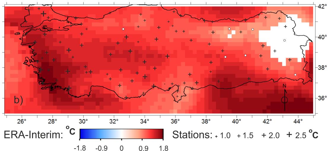 Şekil 1. 1979-2010 tarihleri arasında ortalama toplam sıcaklık değişim miktarının dağılımı. Haritada kırmızı renk tonlarındaki gridler ECMWF'nin ERA-Interim veri setine göre en az %90 güven aralığında önemli derecede sıcaklık artışı olan yerleri ve artış miktarını gösterirken, beyaz gridler ise istatistiksel olarak önemli derecede sıcaklık artışı gözlenmeyen yerleri göstermektedir. Artı işaretleri ise, meteoroloji istasyonu ölçüm verilerine göre en az %90 güven aralığında önemli derecede sıcaklık artışı olan noktaları ve artış miktarını göstermektedir.