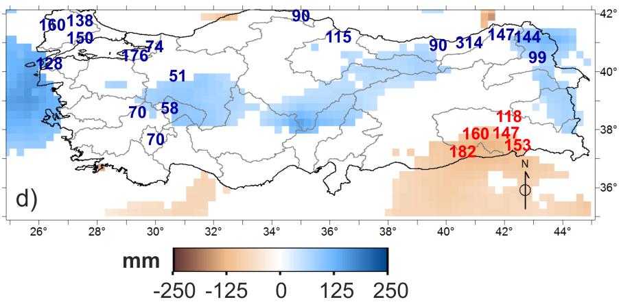 Şekil 2. 1979-2010 tarihleri arasında yıllık toplam yağış değişim miktarının dağılımı. Haritada mavi/kahverengi renk tonlarındaki gridler ECMWF'nin Interim/Land veri setine göre en az %90 güven aralığında önemli derecede yağış artışı/azalışı olan yerleri ve artış miktarını gösterirken, beyaz gridler ise istatistiksel olarak önemli derecede yağış değişimi gözlenmeyen yerleri göstermektedir. Rakamlar ise, meteoroloji istasyonu ölçüm verilerine göre en az %90 güven aralığında önemli derecede yağış artışı (mavi) /azalışı (kırmızı) olan noktaları ve artış miktarını göstermektedir.