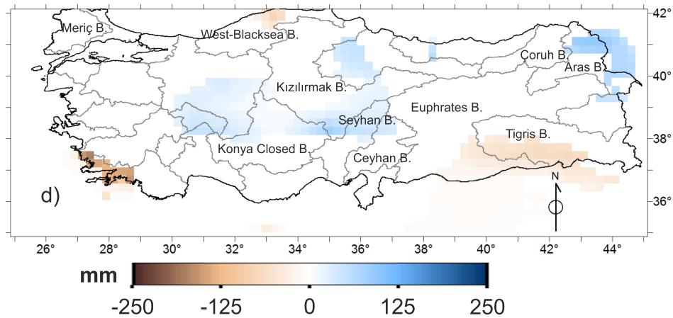 Şekil 3. 1979-2010 tarihleri arasında yıllık toplam yüzey suyu miktarındaki değişim miktarının dağılımı. Haritada mavi/kahverengi renk tonlarındaki gridler ECMWF'nin Interim/Land veri setine göre en az %90 güven aralığında önemli derecede yüzey suyu artışı/azalışı olan yerleri ve artış miktarını gösterirken, beyaz gridler ise istatistiksel olarak önemli derecede yüzey suyu değişimi gözlenmeyen yerleri göstermektedir.