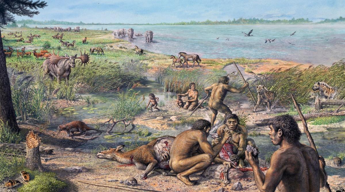 Antik insanların yaşamını gösteren bir çizim...