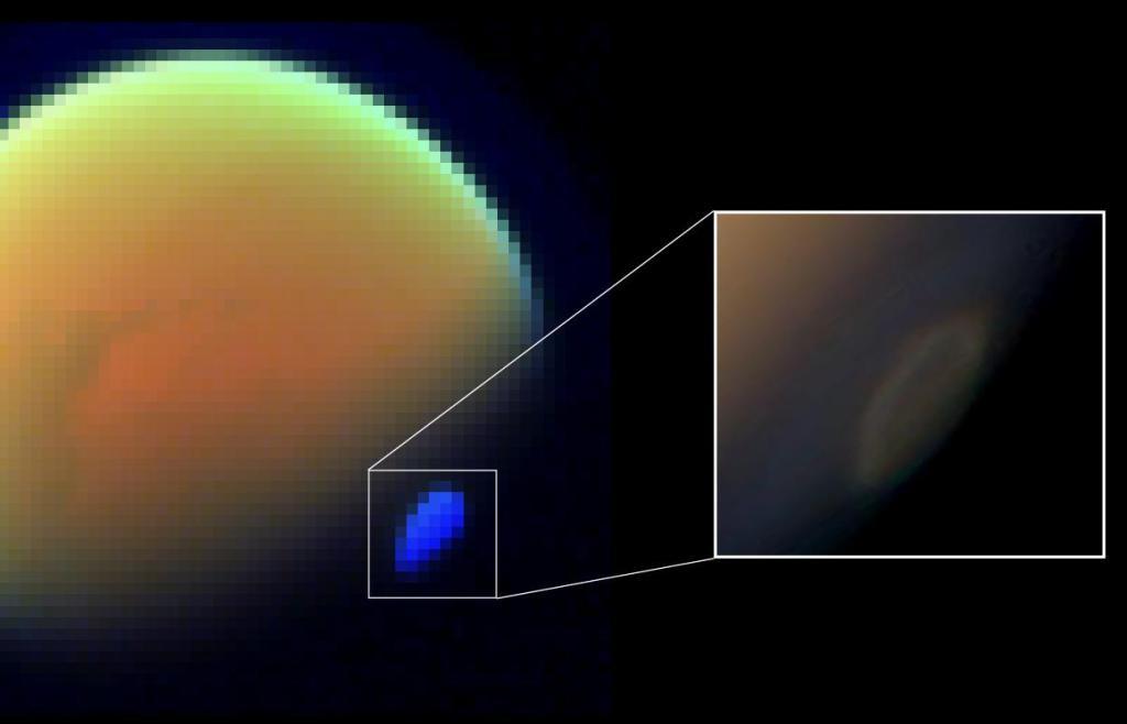 Mısır büyüklüğündeki bu siyanürden oluşan ölüm bulutu Titan'ın güney kutbunu kaplamaktadır.