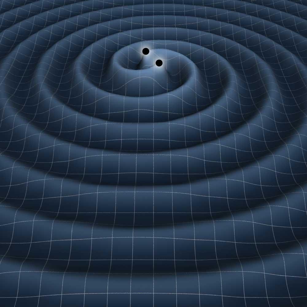 Birbiri etafında dönen iki karadelikten etrafa yayılan kütleçekim dalgaları...