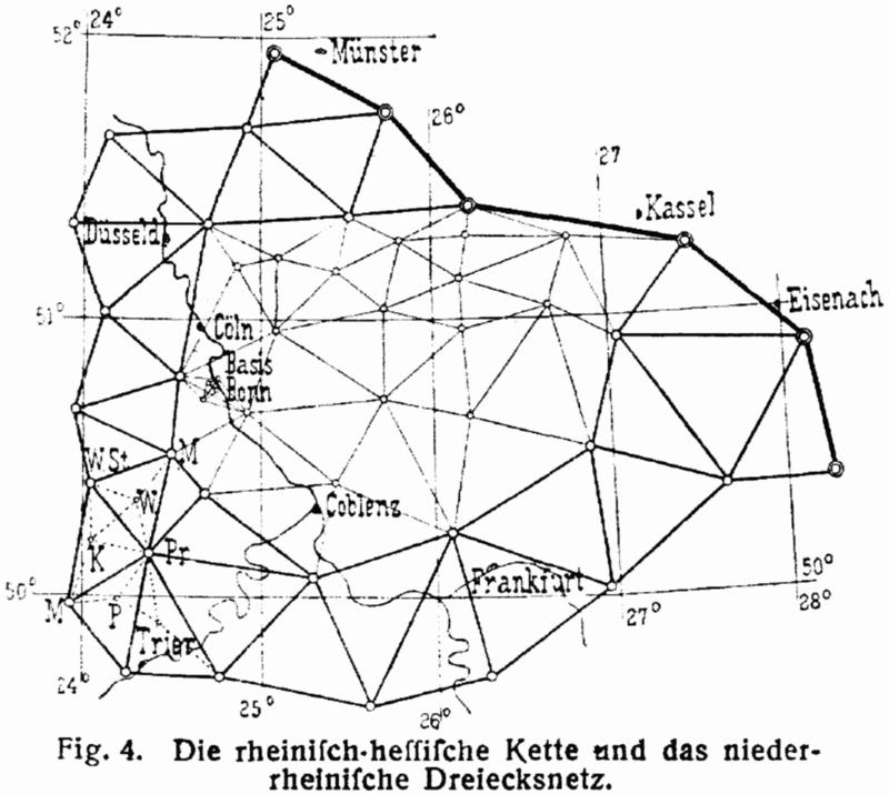 19. Yüzyıla ait Almanya Rheinland-Hesse bölgesinin bir üçgenleme çalışması. Her bağlantı noktası birer nirengi taşıdır. Bir nirengi taşından diğerine yapılan bağlantılarla oluşan ağ üzerinde mesafe hesaplamaları daha da kolaylaşır. Resim Açık Kaynaklıdır.