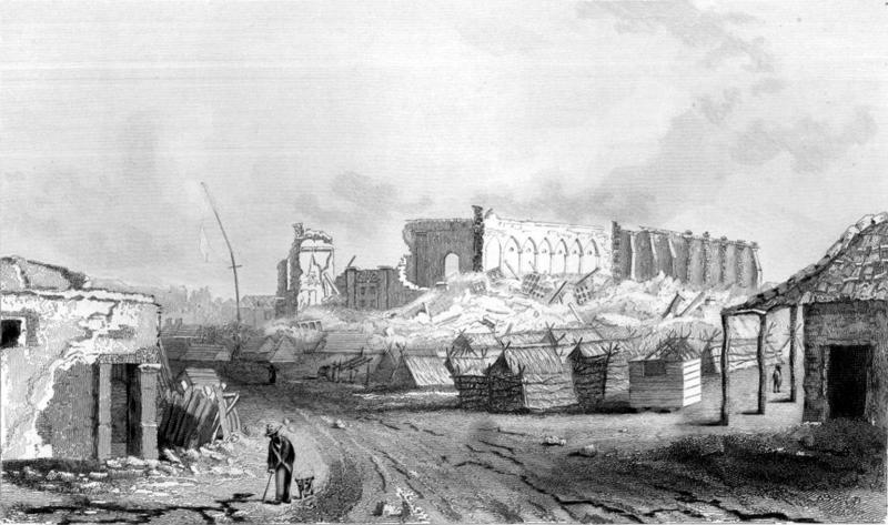 Deprem sonrası Concepción, Beagle tayfasından John Clements Wickham'ın çizimi