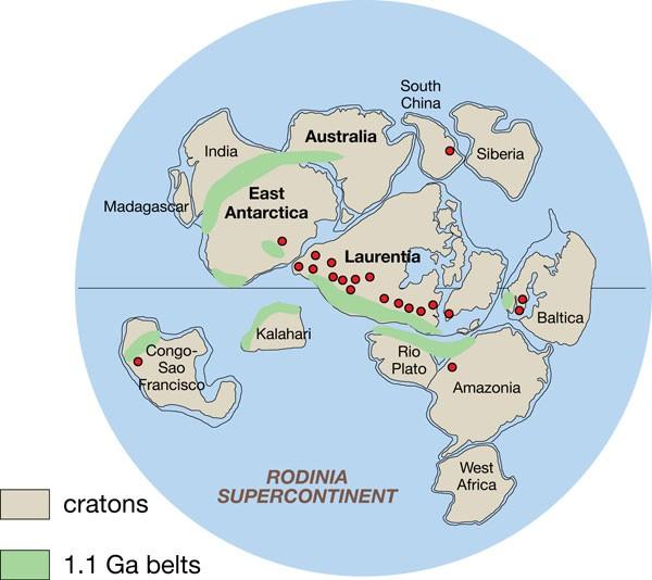 Rodinia Süperkıtası ve Parçaları... Günümüzdeki bazı önemli şehirler ve bölgeler de bu antik kıta üzerinde gösterilmektedir.