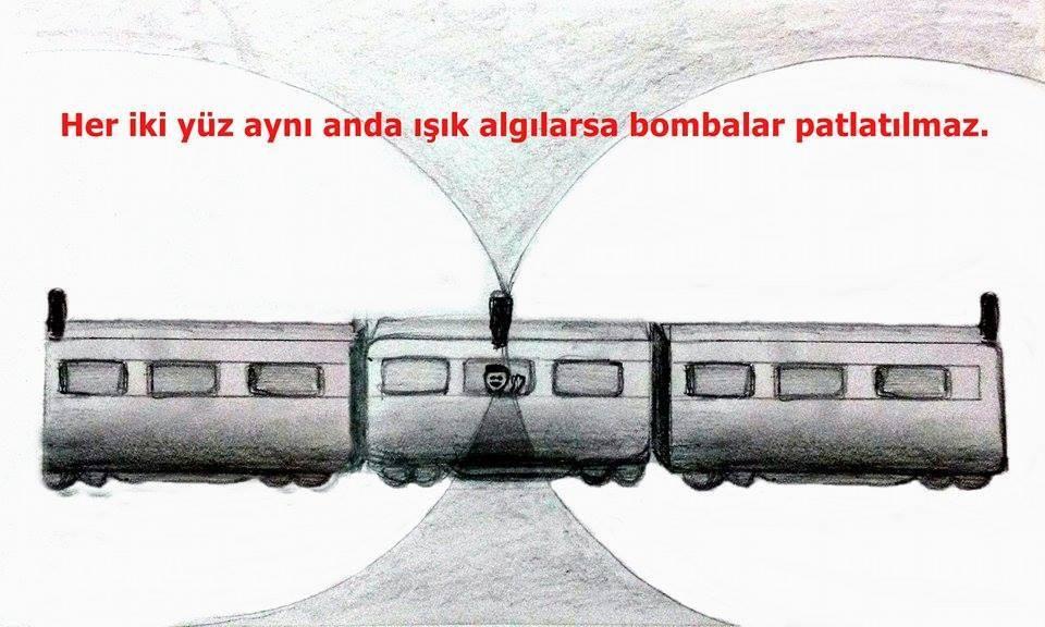 Normalde tren içerisindeki gözlemciye göre (dolayısıyla algılayıcıya göre), iki taraftan gelen ışık aynı anda merkeze ulaşır. Bu durumda bomba patlamaz.