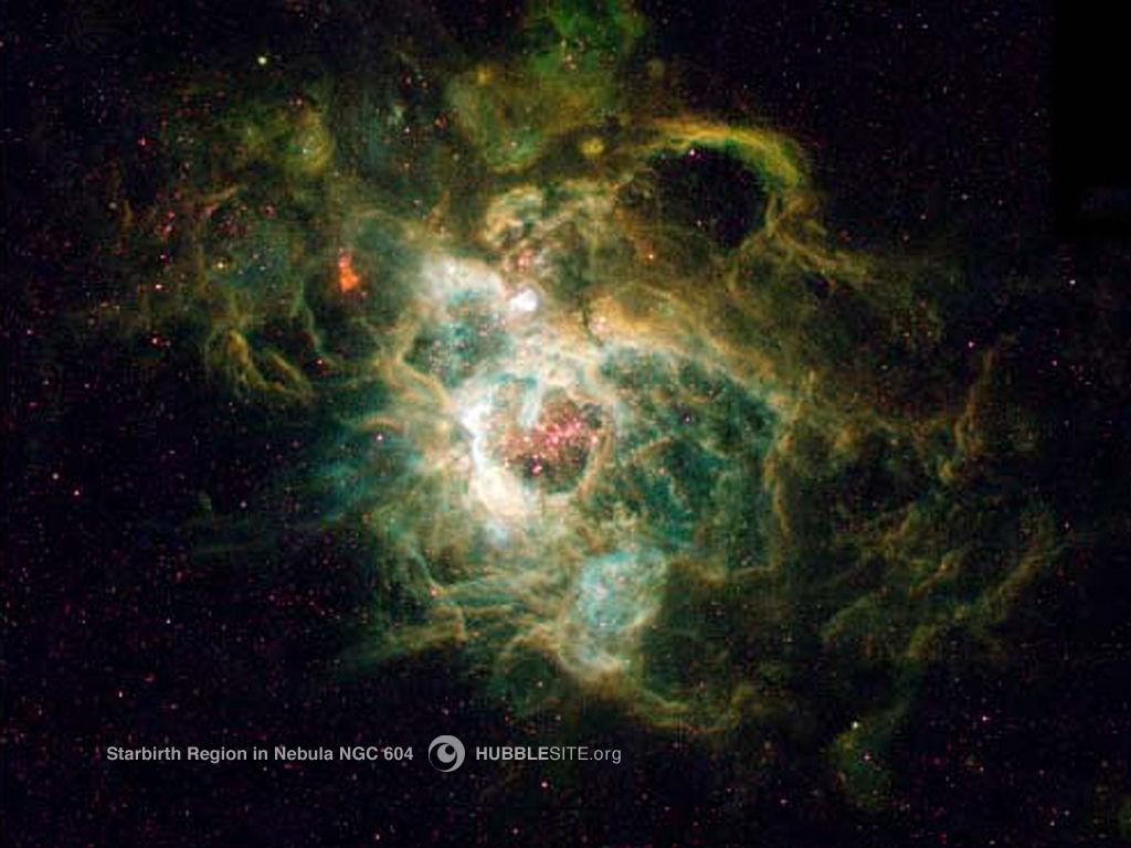 NGC 604 Nebulası içerisinde yıldızların doğduğu bir bölgenin Hubble tarafından çekilmiş fotoğrafı...