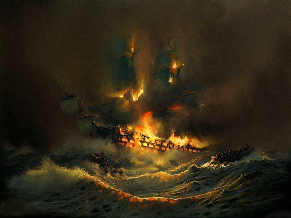 Bir sanatçının gözünden yanan bir gemi...