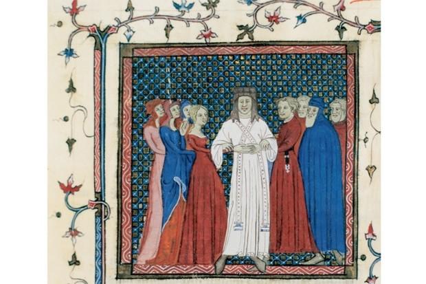 Orta Çağ İngiltere'sinde bir halk düğünü. Eskinin soylu beyaz rengi bir gelinlik rengi olmakla yetiniyor. Renk tercihlerindeki tekdüzelik kadar kadın ve erkekkıyafetlerindeki sadelik ve kapalılığa da dikkat edin.