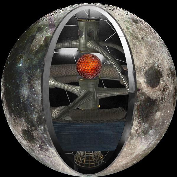Görsel 2: Ay'ın bir uzay gemisi olduğuna dair kesit illüstrasyonu