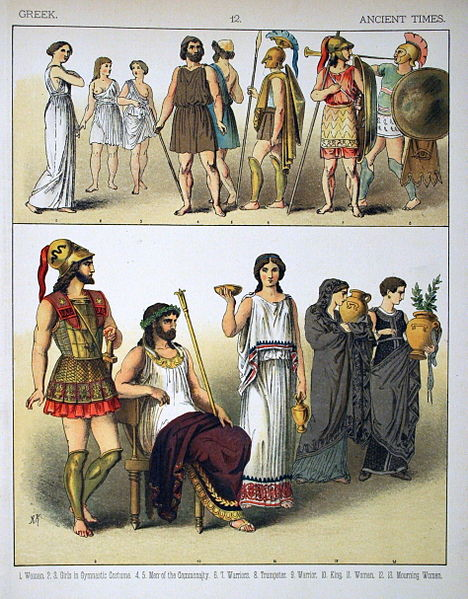 Antik Yunan toplumunun sosyal grupları ve sosyal grupların oldukça katı giyim alışkanlıkları.