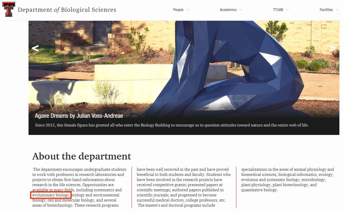 Texas Tech Üniversitesi Biyolojik Bilimler Bölümü