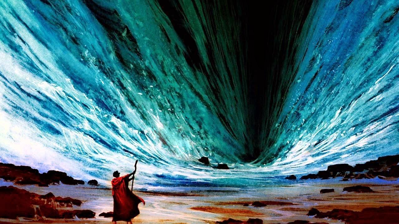 Musa'nın Kızıldenizi yarma mucizesinin bir gösterimi...