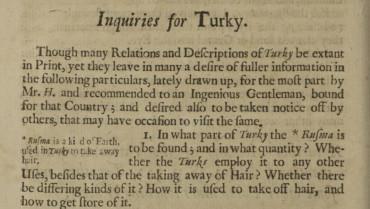 Türkiye ile İlgili İlk Basılı Akademik Makale: