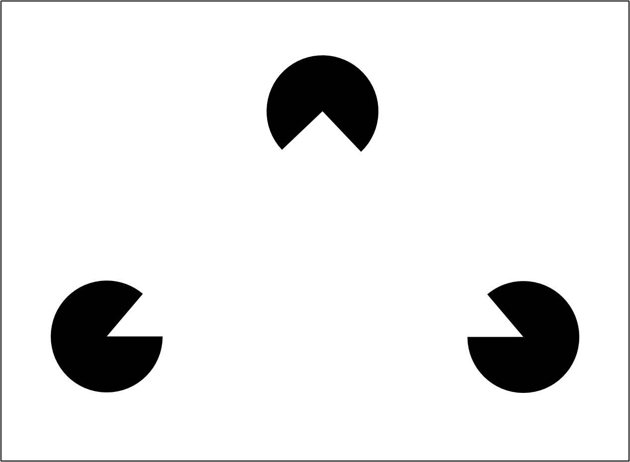 """Görsel 3: Pacman benzeri üç küçük dilimlenmiş dairenin yarattığı illüzyon ile sanki ortada bir üçgenin olduğunu düşünebilirsiniz, ancak bu üçgen yoktur. Bu aynı zamanda """"Hayali Kontür"""" olarak bilinmektedir."""