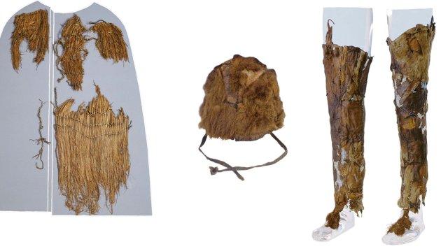 Ötzi' nin kıyafetleri(sol üstten sağ alta): Çalı tabanlı ayakkabılar ve deri kılıfı, deri palto, deriden kuşak, çalıdan palto, kürk bere, deri tozluklar