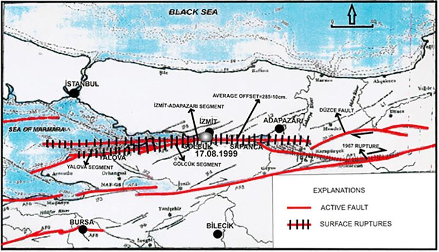 17 Ağustos 1999 depremine neden olan, Kuzey Anadolu Fay Hattı segmanları (ya da segmentleri)... Yalova segmanı en solda, İzmit-Adapazarı segmanı ortada, Düzce fayı da sağda. Bu segmanlar boyunca meydana gelen sürtünme, sonunda büyük bir kırılmaya neden olmuştur ve 17 Ağustos gecesi patlamıştır. Tırtıklı gösterilen bölgeler, yüzey kırınımların göstermektedir. Bunlar, deprem sırasında kırılan bölgelerdir. Düz kırmızılar ise aktif fay hatlarıdır. İşte deprem fırtınaları, fay hattının bir kısmını oluşturan bir segmentte başlar ve segment segment zıplayarak fay hattı boyunca devam eder.