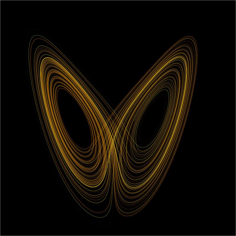 Lorenz çekeri: Edward Lorenz hava tahmin modeli oluşturmaya çalışırken üç boyutlu düzlemde ifade edilebilen Lorenz çekeri ortaya çıkmıştır. Kullandığı denklemlerde yeni değerler kullandığında grafiğin sarmallaştığını ve hiçbir zaman birbirini kesmediğini görmüştür. Sistem kararlı değildir, periyodik davranış sergilemez ve kendini tekrar etmez. Bu arada Lorenz çekeri bir kelebeğin kanatlarını andırır.