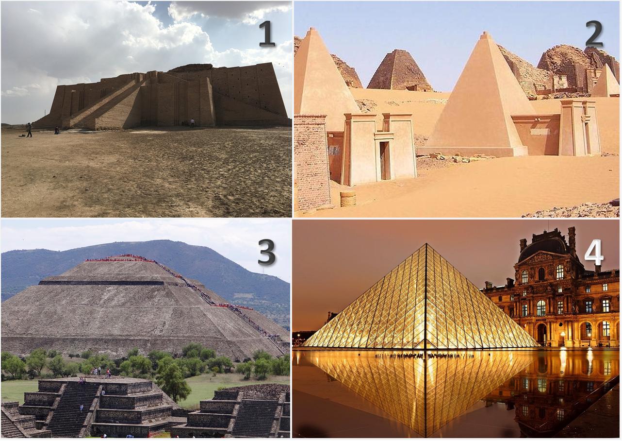 Görsel 1: (1) Ur Ziggurat'ın önden görünüşü. (2) Nubian piramitleri. (3) Güneş Piramidi. (4) Paris'teki Louvre Piramidi