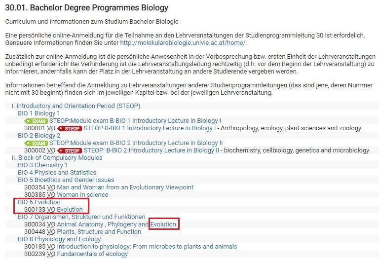 Viyana Üniversitesi Biyoloji Lisans Programı ilk dönem dersleri.
