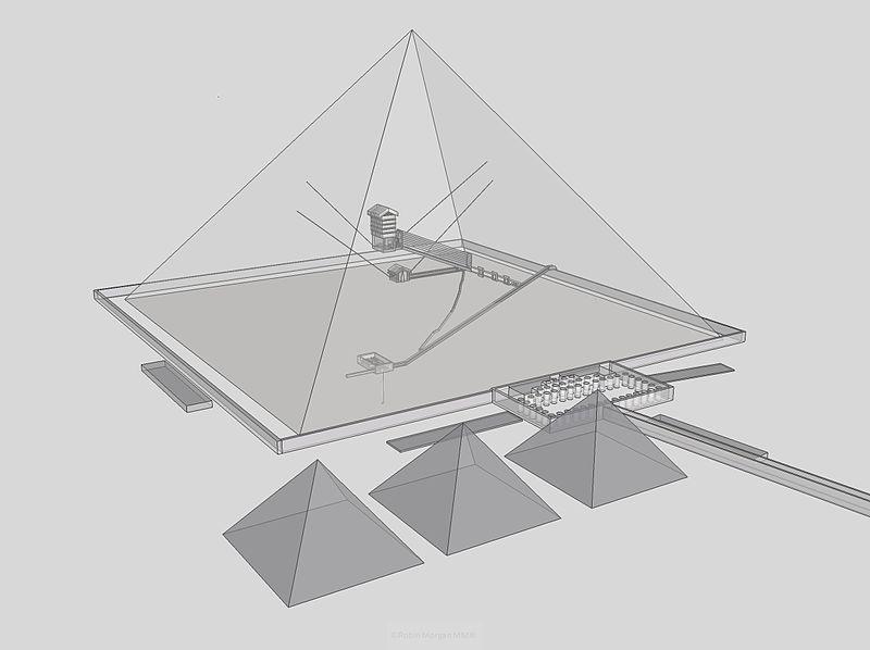 Görsel 4: Khufu Piramidi'nin içini gösteren bir illüstrasyon. Proje yönetiminde Khufu'nun akrabası Hemienu bulunmaktaydı.