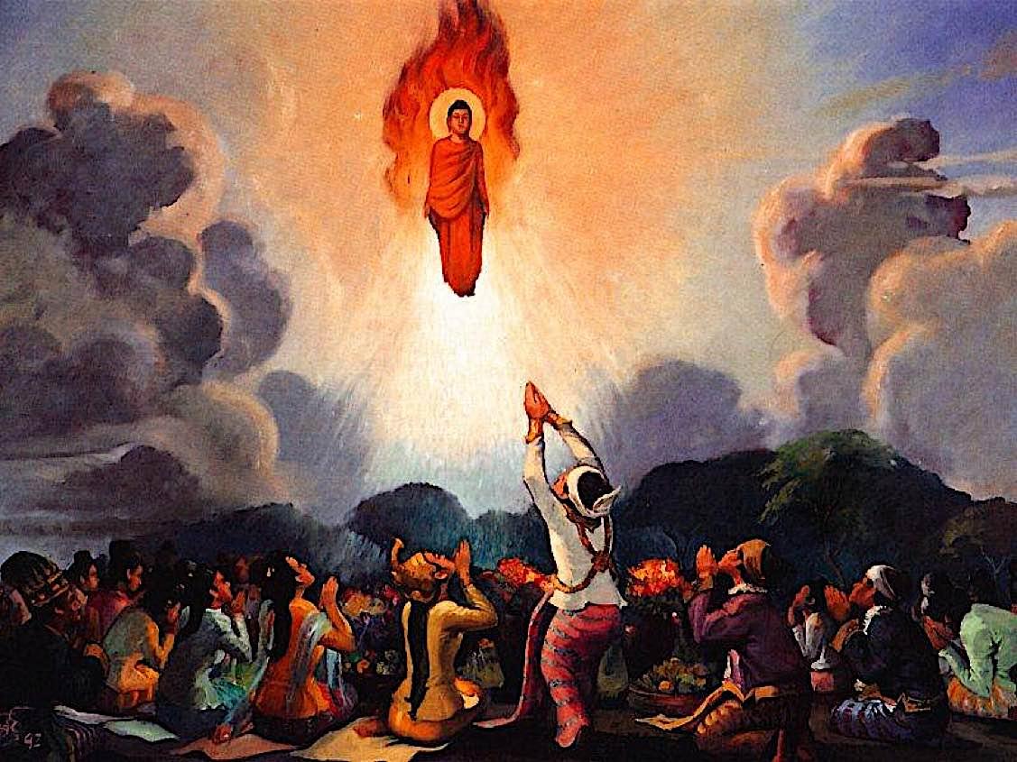 Budha'nın ateş ve su mucizesinin bir gösterimi...