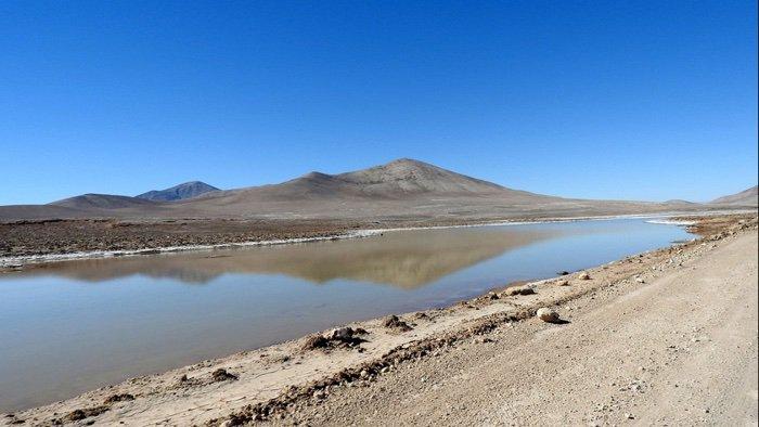 Atacama Çölü'nde bir vaha (çöllerde tarıma ve insan yaşamına elverişli bölge).