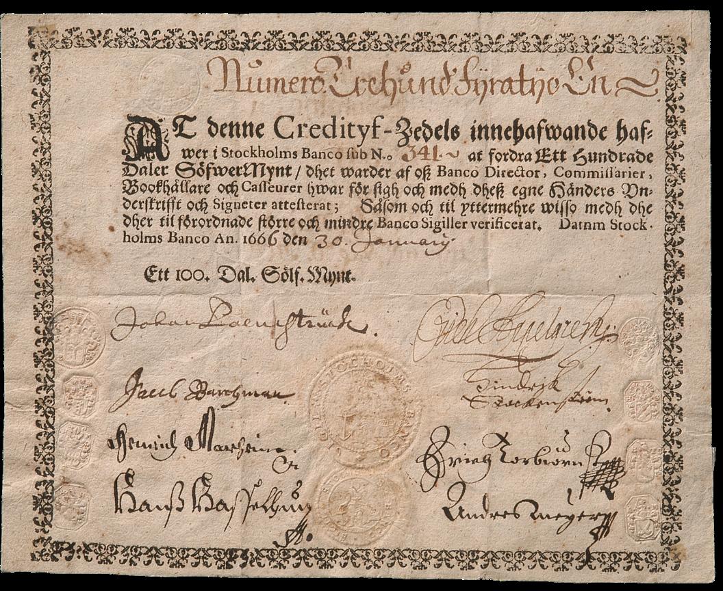 Stockholms Banco tarafından basılan Avrupa'nın ilk banknotu.