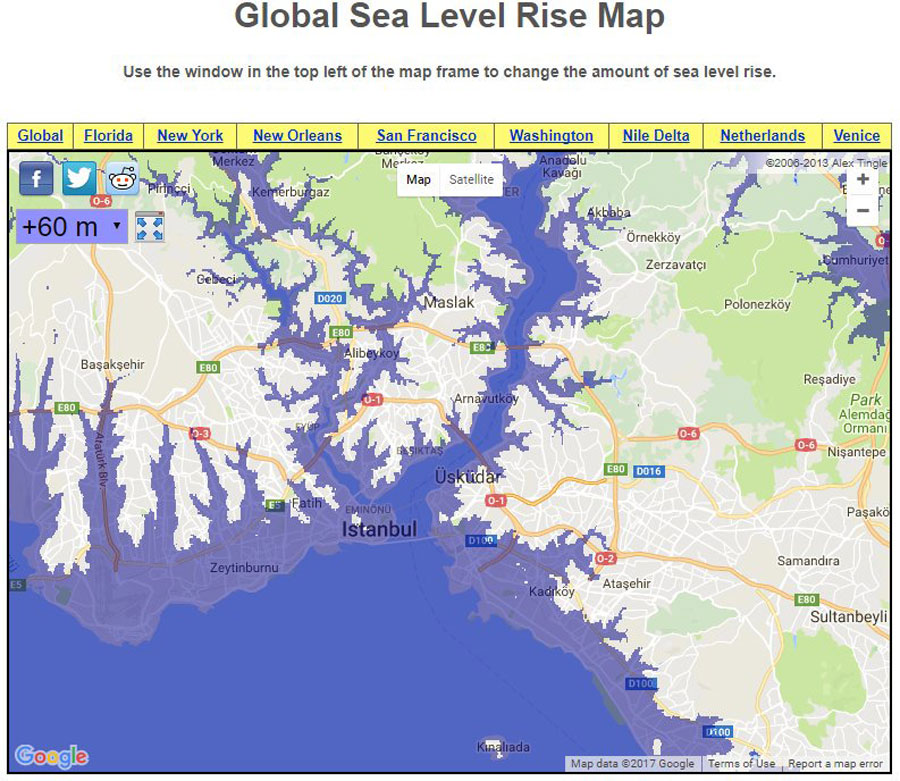 Eğer ki Dünya'daki bütün buzullar erirse, deniz seviyesi 60 metreye kadar yükselecek. Bu durumda, İstanbul'un maviyle gösterilen alanları su altında kalacak. Bu, devasa bir toprak kaybı, nasıl izin veririz? Ancak böylesine kapsamlı bir erime olayı yakın vadede beklenmiyor.