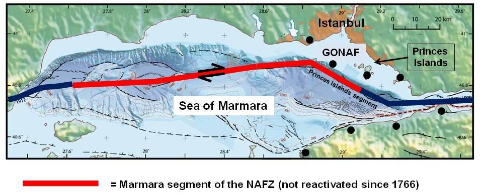 Kuzey Anadolu Fay Hattı'nın Marmara Denizi Segmenti... Bir ucunun İstanbul'a ne kadar yakın olduğuna dikkat ediniz. Önceki segmentlerle kıyaslayacak olursanız, Adapazarı segmentiyle Adapazarı arasındaki mesafenin hemen hemen aynısını Marmara Denizi Segmenti ile İstanbul arasında görmekteyiz. Adapazarı'nda olanlar düşünülecek olursa, İstanbul'da olması beklenenleri hayal etmesi bile güçtür. Ancak buna yazının ilerleyen kısımlarında geleceğiz.