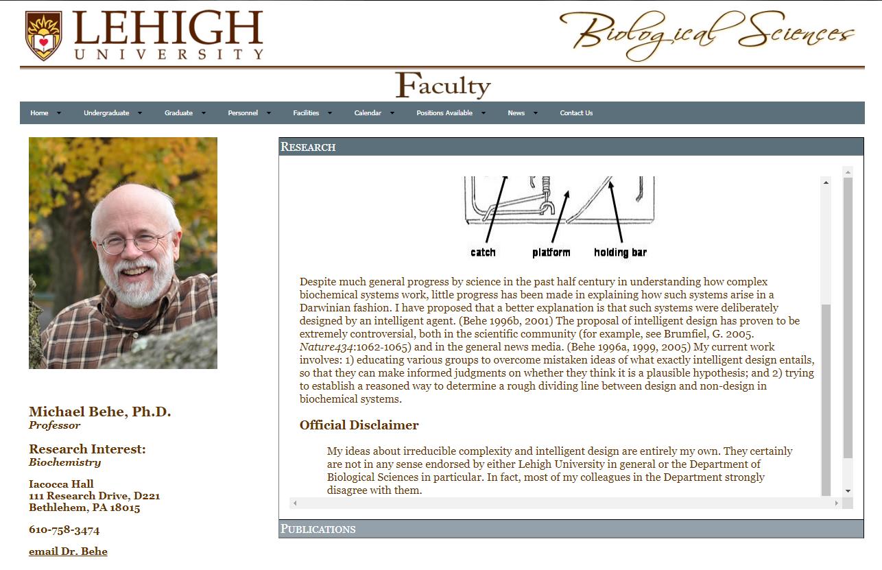 Michael Behe'nin Sitesindeki Açıklama