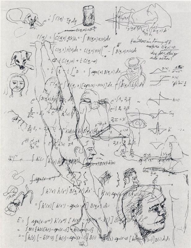 Feynman'ın bu eskizlerine bakarak, kafasının fizikle olduğu kadar sanatsal kavramalarla da meşgul olduğunu fark edersiniz.
