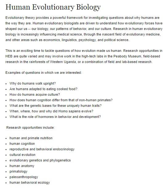 Harvard Üniversitesi İnsan Evrimsel Biyolojisi Lisans Programı tanıtım yazısı ve hedefleri.