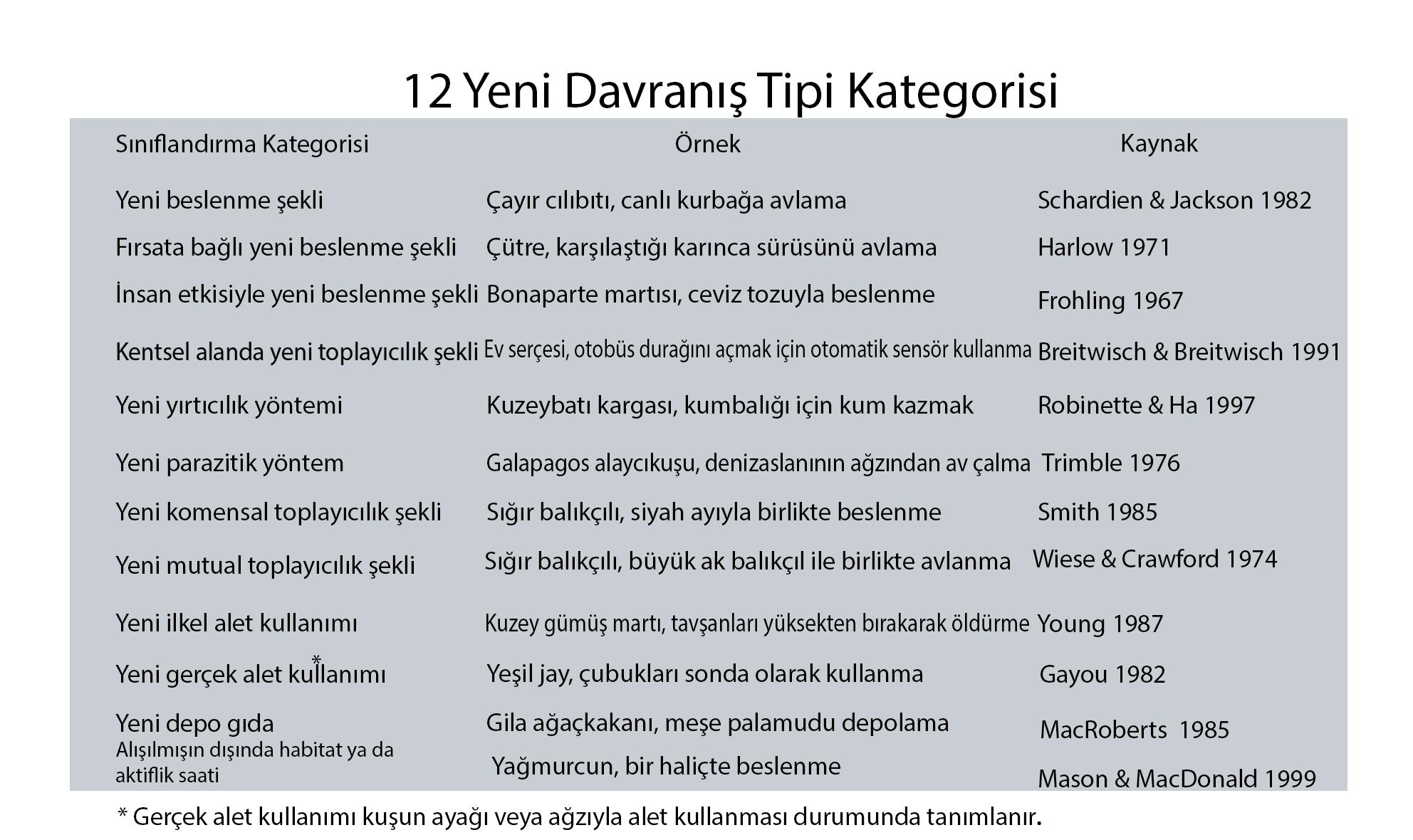 Bilim insanlarının yeni davranışları sınıflandırdığı 12 kategori ve örnekleri