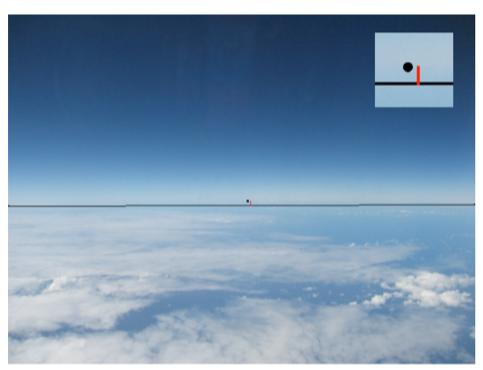 Görsel 5. Bu görsel, yatay görüş alanı 62,7° olan 35.000 ft (10.670 m) irtifadan çekilen bir ufuk fotoğrafını göstermektedir. Ufku belirleyen üç referans noktası, sol ve sağ kenarlardaki noktaları birleştiren yatay çizgi ve ölçülen sagitta değeri (sagitta ölçümünün büyütülmüş fotoğrafı sağ üst köşede verilmiştir) de görselde verilmiştir.