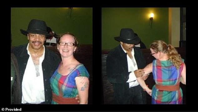 Katelyn Allers'in iddiasını desteklemek için sunduğu fotoğraf. İddiaya göre Tyson, sağdaki fotoğrafın çekilmesinden hemen sonra elini Allers'in kıyafetinin içine soktu.