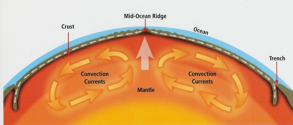 Görselde görebileceğiniz gibi üzerinde bulunduğumuz kabuk inceciktir. Hemen altında meydana gelen konveksiyon akıntıları, kabukta bulunan ve
