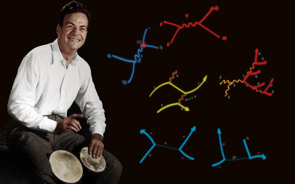 Feynman bongo çalarken... Feynman diyagramlarının görsele iliştirilmesiyle ilginç bir çalışma çıkmış ortaya.