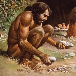 Burada ise 200.000 yıl kadar önce yaşamış, ilk Homo sapiens bireylerinden birinin çizimi görülmektedir. İlk bakışta, herhangi bir şüphe duymaksızın bu bireye bir