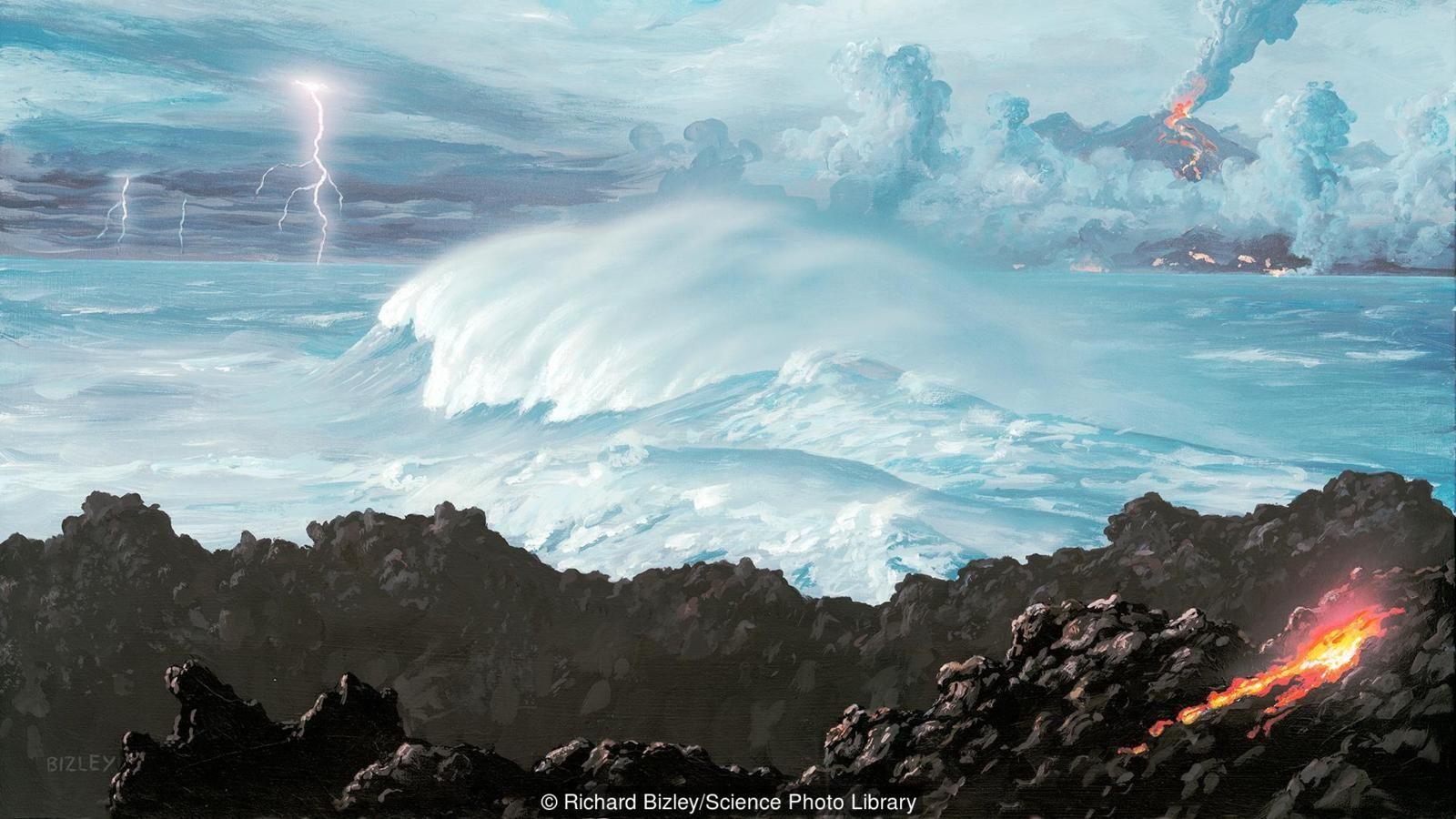 Dünya yüzeyi soğudukça ilk okyanuslar oluşmaya başlamıştır.