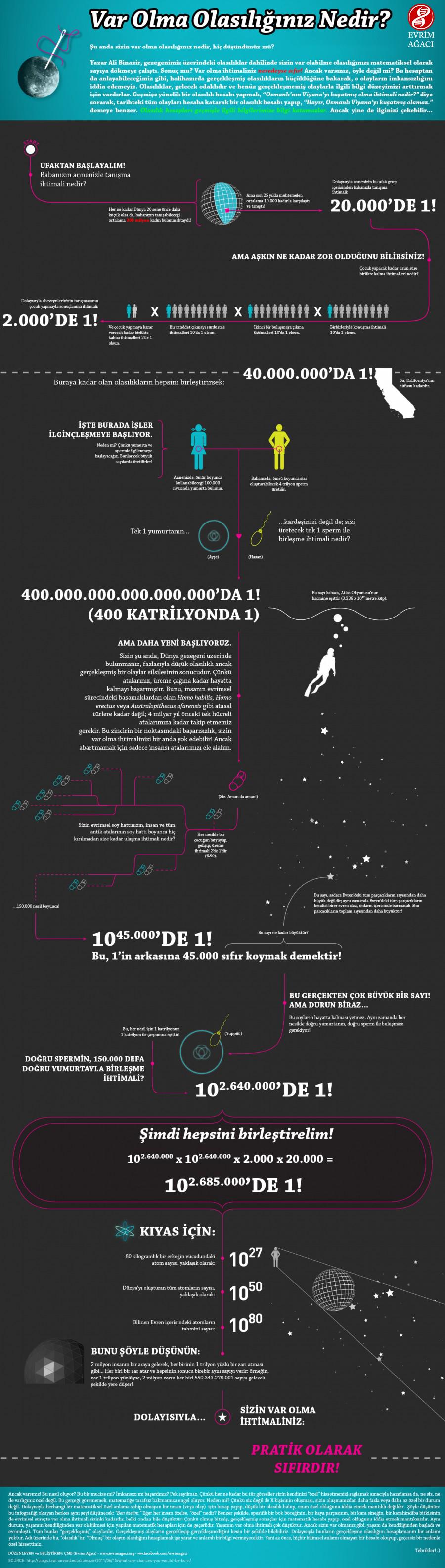 Bu infografiğin orijinalinde de, spesifik bir insanın var olma ihtimali için yapılan bir hesaplamadan yola çıkarak, her insanın bir
