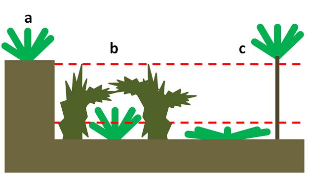 Görsel 1: Konumsal korunaklar  Bitkiler, yukarıdaki görselde gösterildiği gibi, otçulların ulaşamadığı alanlarda büyüyerek otçulluğun etkilerini azaltabilir. Kırmızı kesik çizgiler bir otçulun bitkiye erişip yiyebildiği alanı göstermektedir. Burada gösterilen korunak tipleri (a) uçurumun ya da platonun tepesindeki jeolojik korunaklar, (b) otçulun yaklaşmasını engelleyebilen ya da yaklaşanı uzaklaştırabilen bitkilerin altındaki biyotik korunaklar ve (c) otçulun otlama seviyesinin altında veya üstünde kalan konumsal korunaklardır.   2012 Nature Education